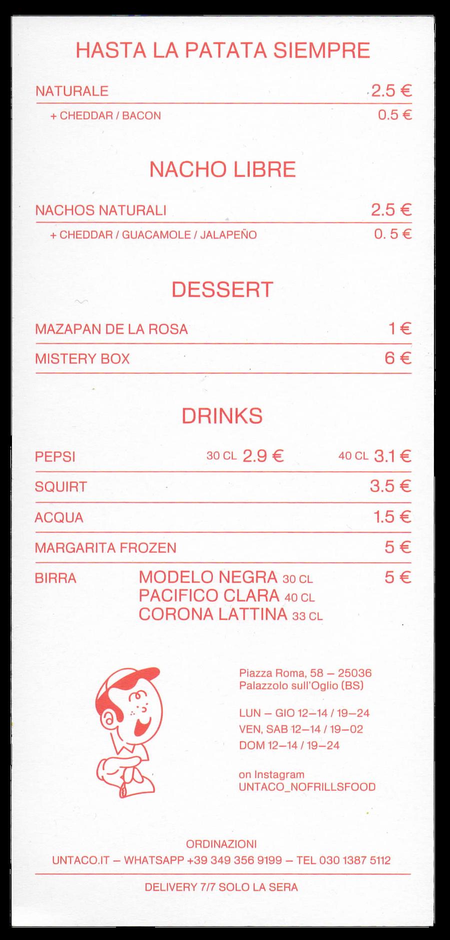 untaco no frills food menu palazzolo sull'oglio brescia